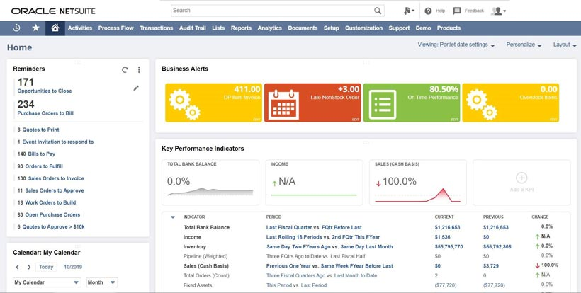 NetSuite Dashboard example - balkanservices.com